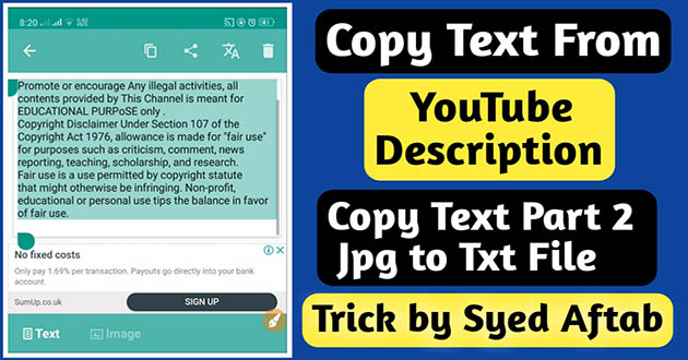 Copy Text On Screen - Youtube Description Text Copy